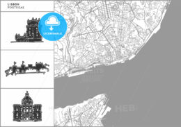 Lisbon city map with hand-drawn architecture icons