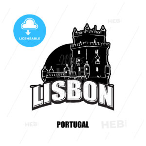 Lisbon, tower, black and white logo - HEBSTREITS