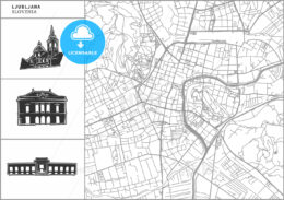 Ljubljana city map with hand-drawn architecture icons