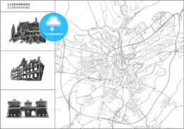 Luxembourg city map with hand-drawn architecture icons