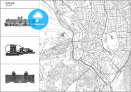 Madrid city map with hand-drawn architecture icons