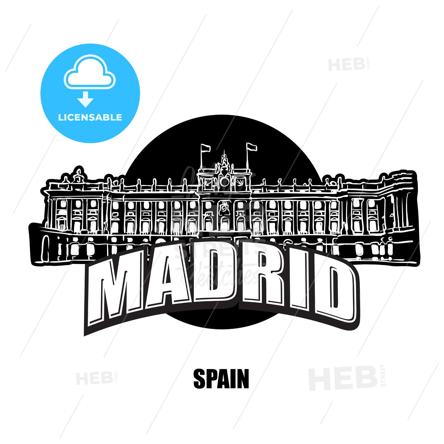 Madrid royal palace black and white logo - HEBSTREITS