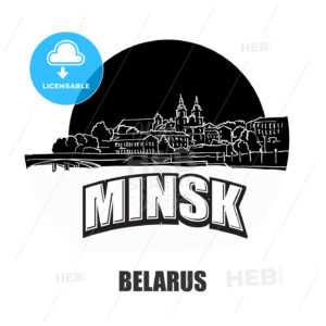 Minsk, Belarus, black and white logo - HEBSTREITS