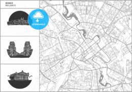 Minsk city map with hand-drawn architecture icons