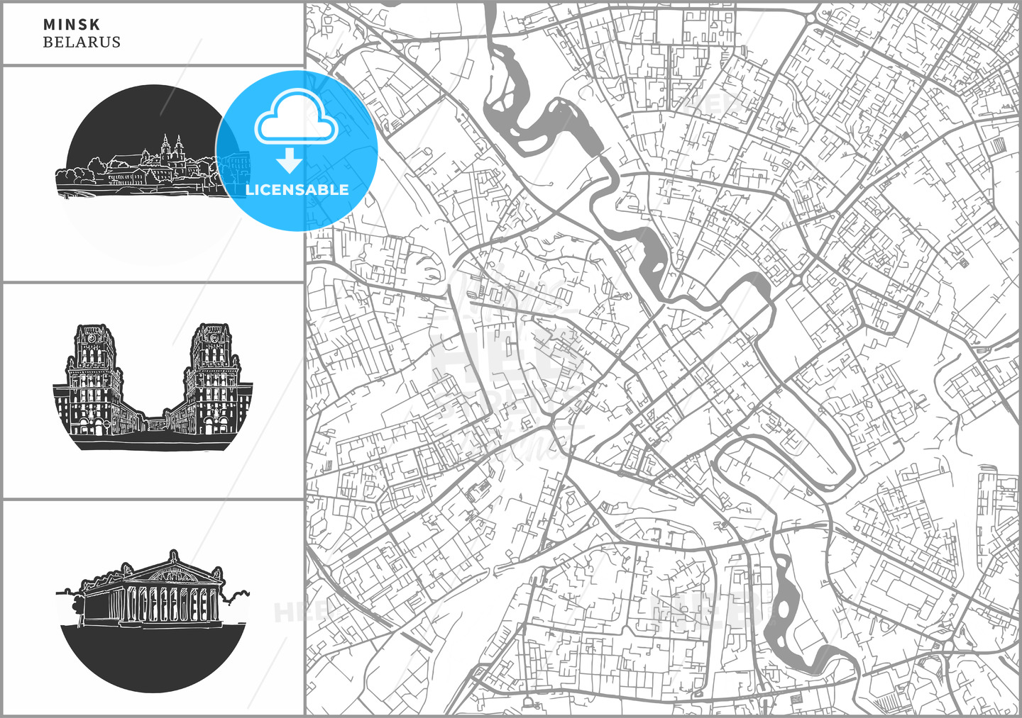 Minsk city map with hand-drawn architecture icons - HEBSTREITS