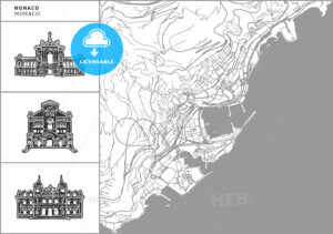 Monaco city map with hand-drawn architecture icons - HEBSTREITS