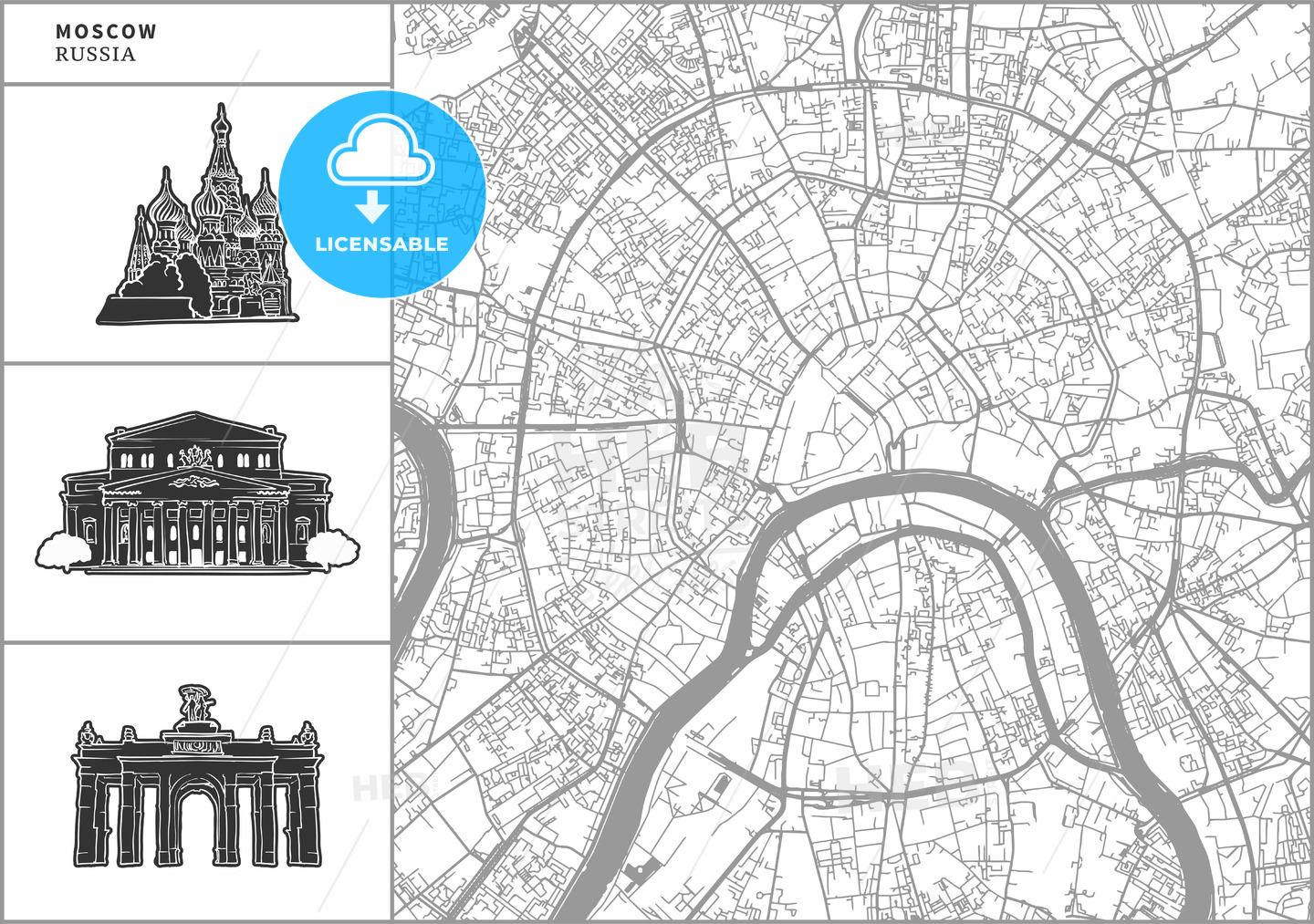 Moscow city map with hand-drawn architecture icons - HEBSTREITS