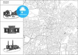Nicosia city map with hand-drawn architecture icons