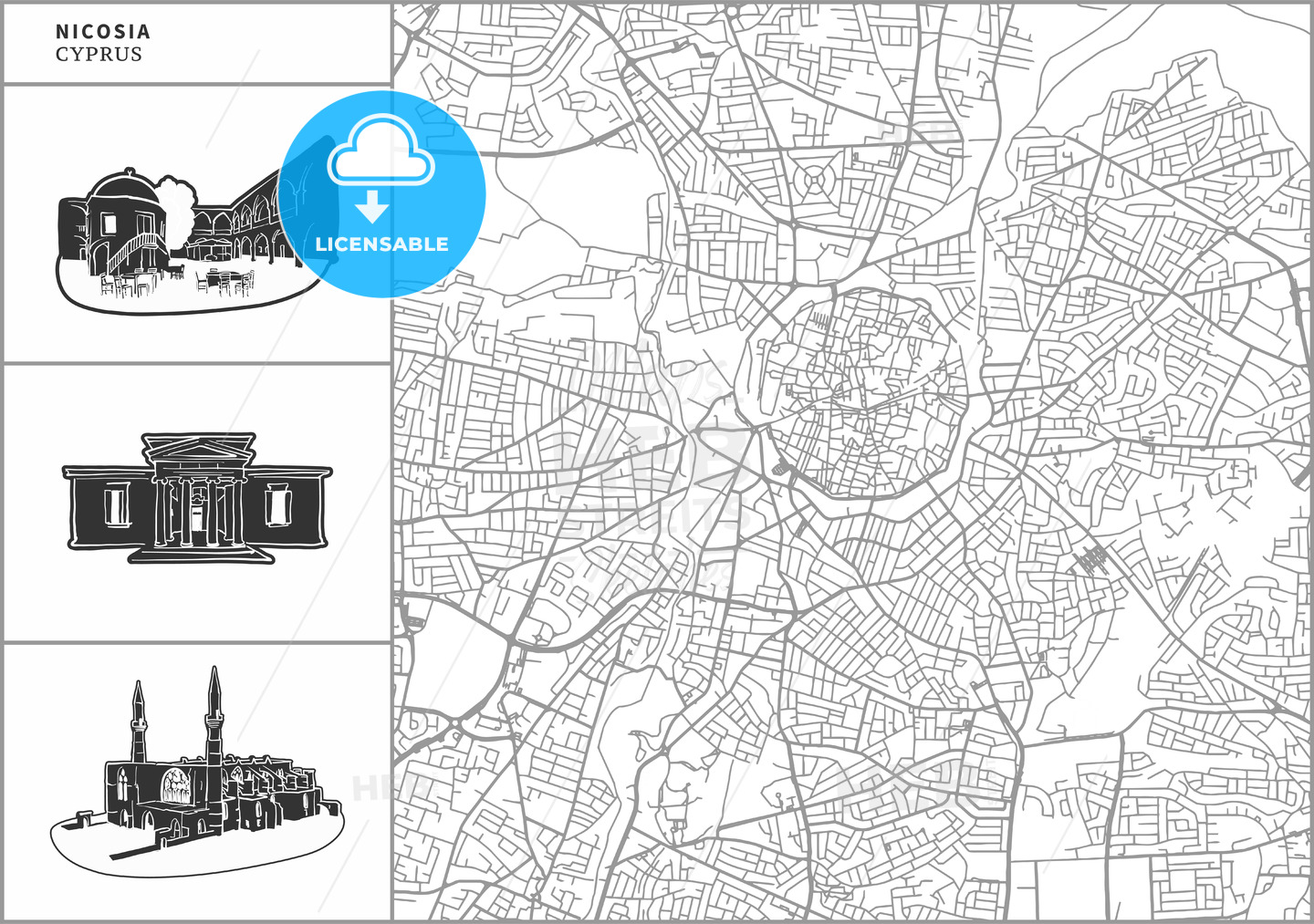 Nicosia city map with hand-drawn architecture icons - HEBSTREITS