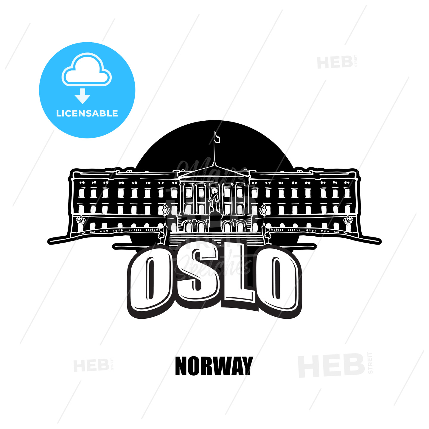 Oslo, Norway, black and white logo - HEBSTREITS