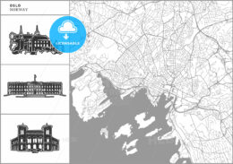 Oslo city map with hand-drawn architecture icons