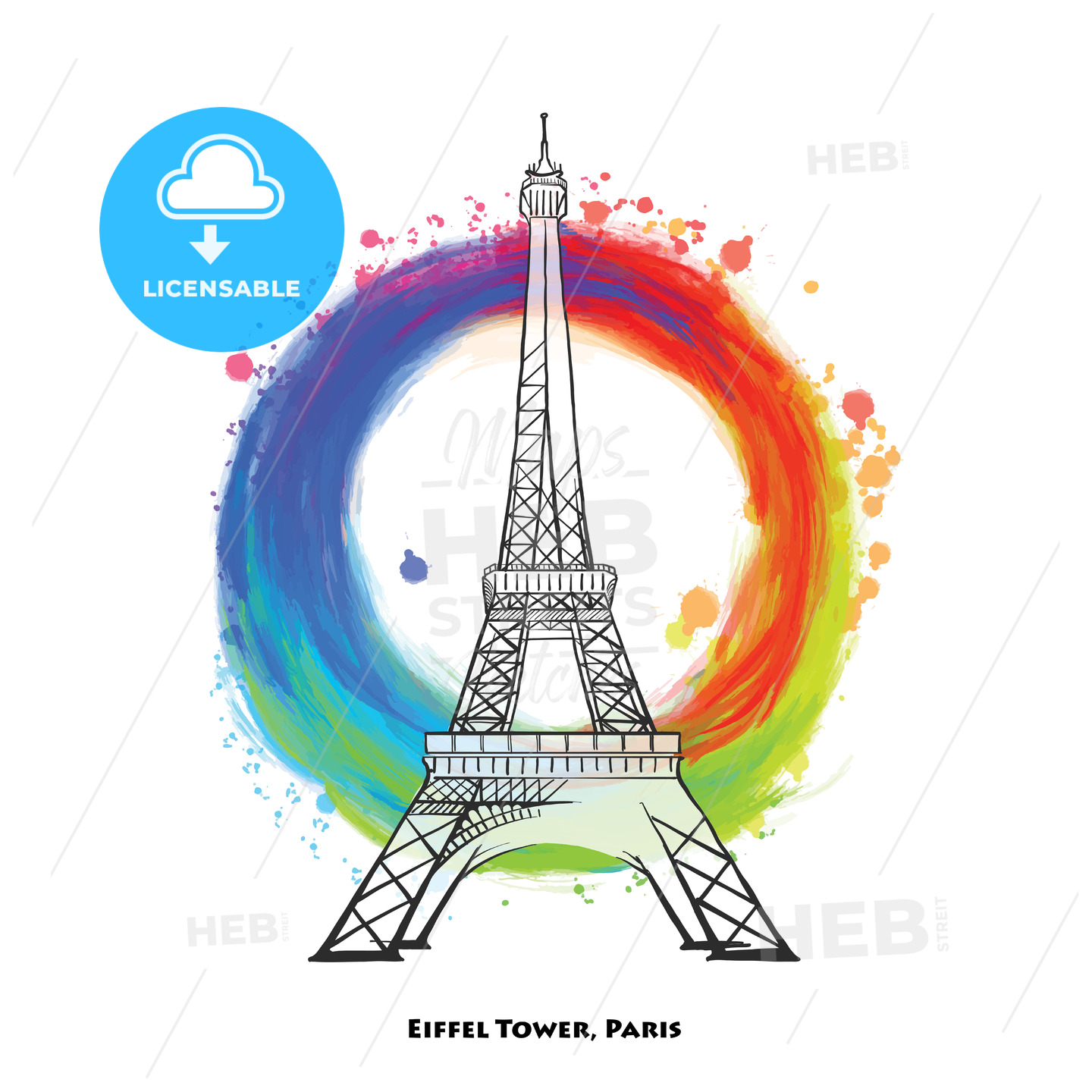 Paris Eiffel Tower drawing - HEBSTREITS