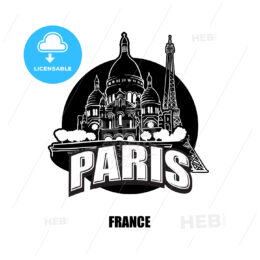 Paris, France, black and white logo