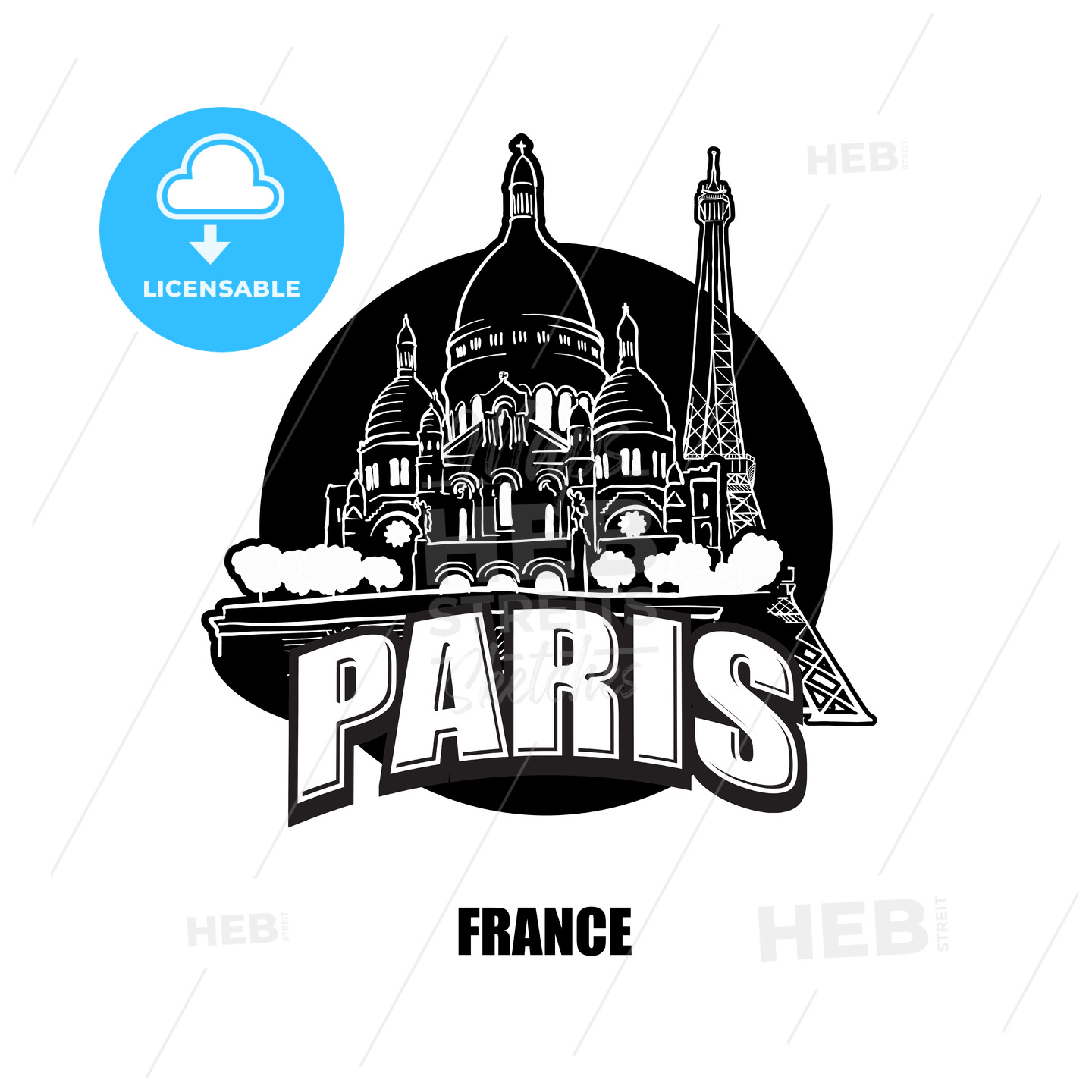 Paris, France, black and white logo - HEBSTREITS