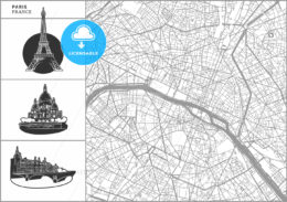 Paris city map with hand-drawn architecture icons