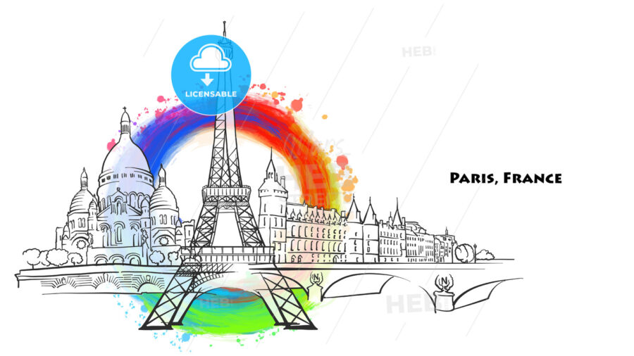 Paris landmarks with colored background - HEBSTREITS