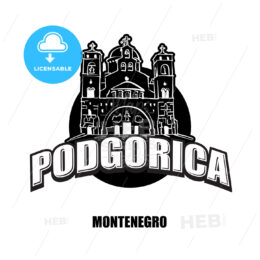 Podgorica, Montenegro, black and white logo
