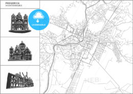 Podgorica city map with hand-drawn architecture icons