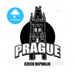Prague, Czech Republic, black and white logo