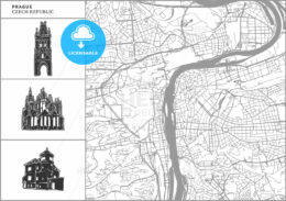 Prague city map with hand-drawn architecture icons