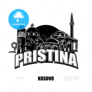 Prstina, Kosovo, black and white logo - HEBSTREITS