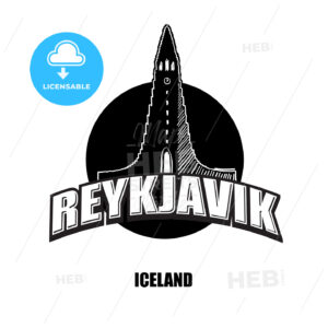 Reykjavik, church, black and white logo - HEBSTREITS