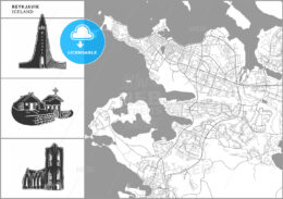 Reykjavik city map with hand-drawn architecture icons