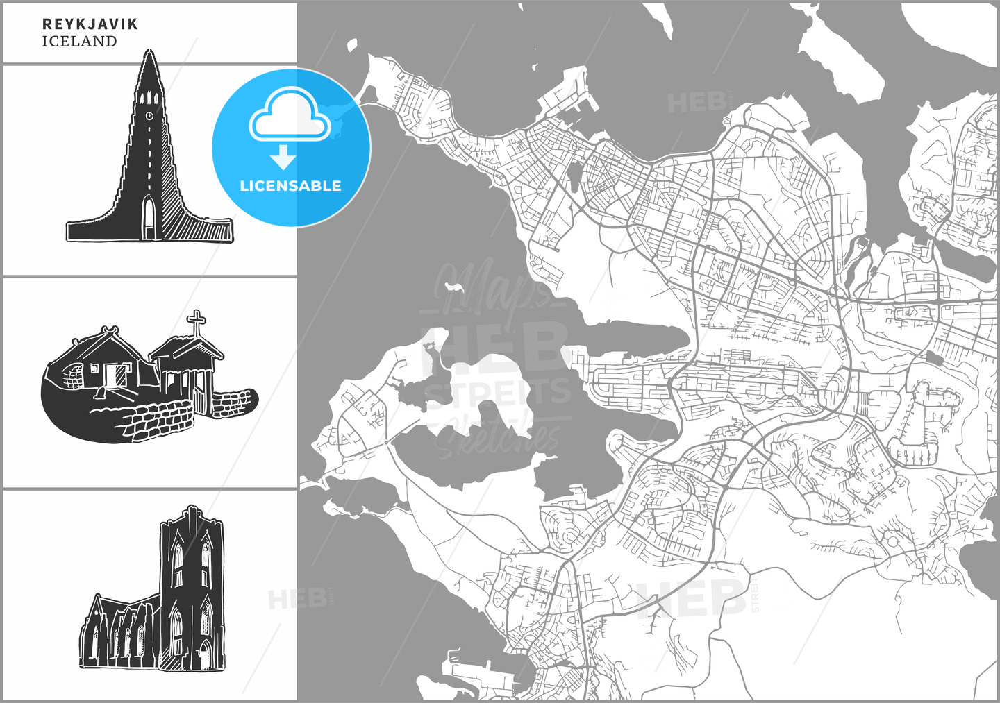 Reykjavik city map with hand-drawn architecture icons - HEBSTREITS