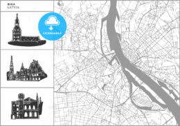 Riga city map with hand-drawn architecture icons