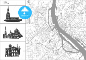 Riga city map with hand-drawn architecture icons - HEBSTREITS