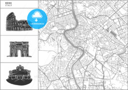 Rome city map with hand-drawn architecture icons