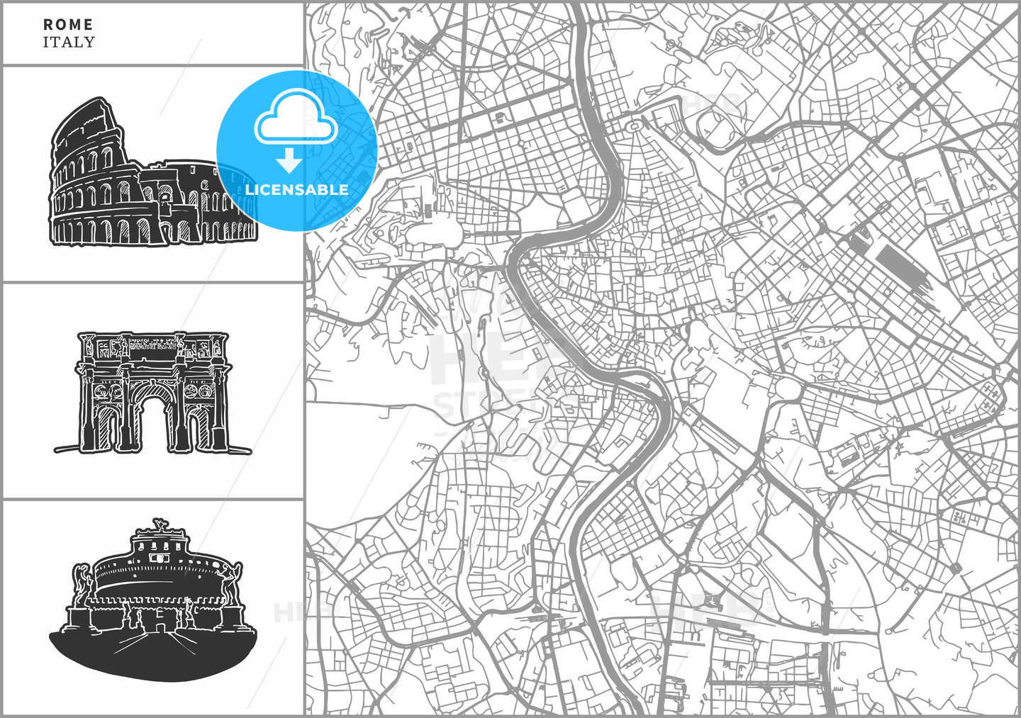 Rome city map with hand-drawn architecture icons - HEBSTREITS