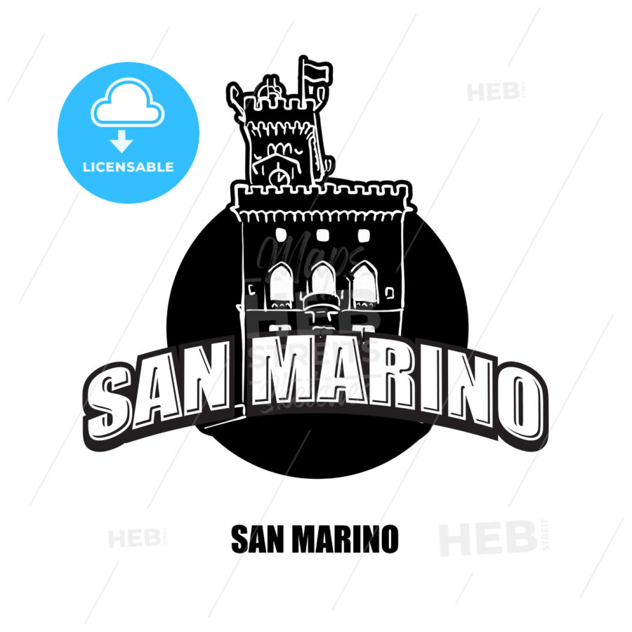 San Marino Castle black and white logo - HEBSTREITS
