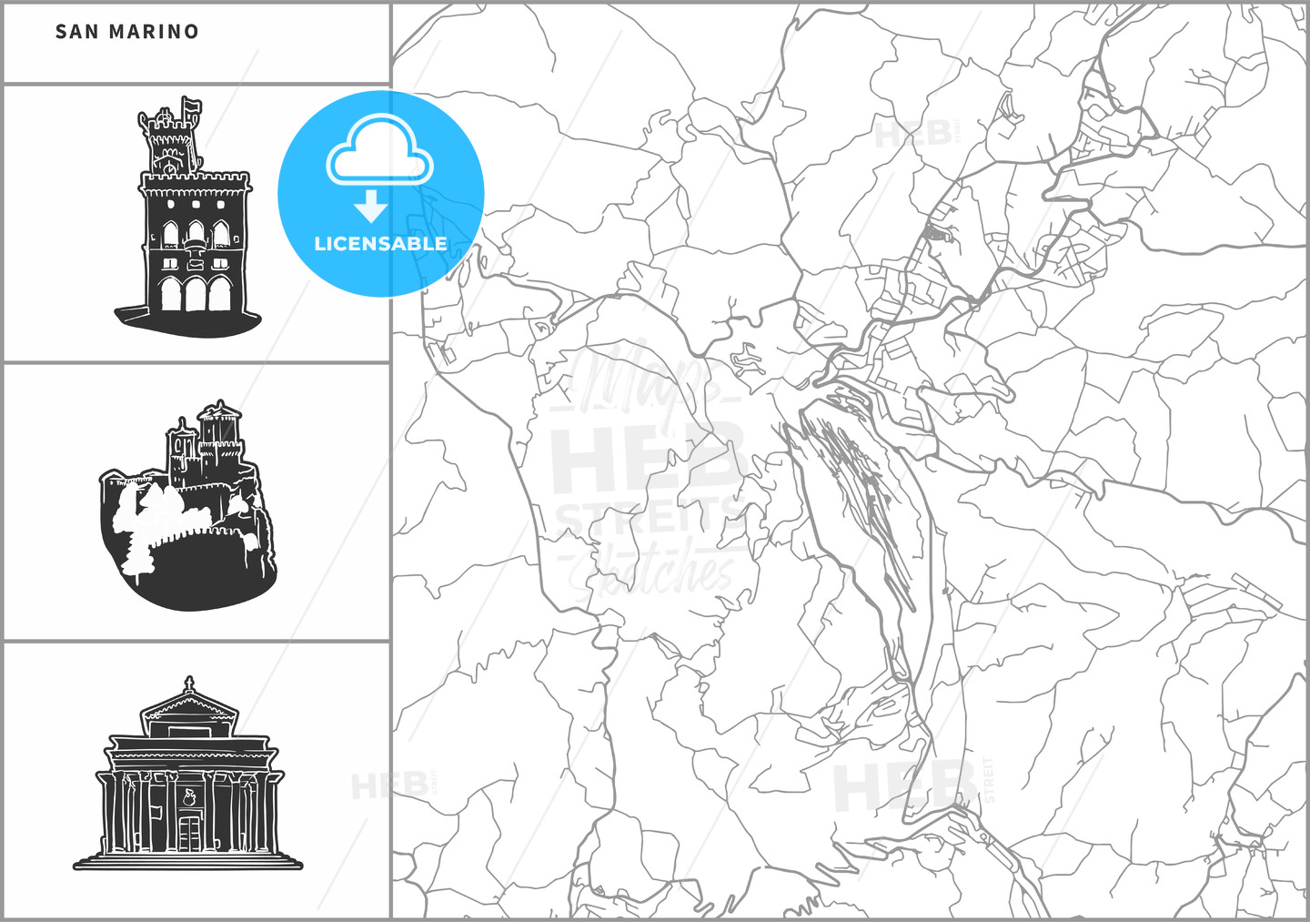 San Marino city map with hand-drawn architecture icons - HEBSTREITS