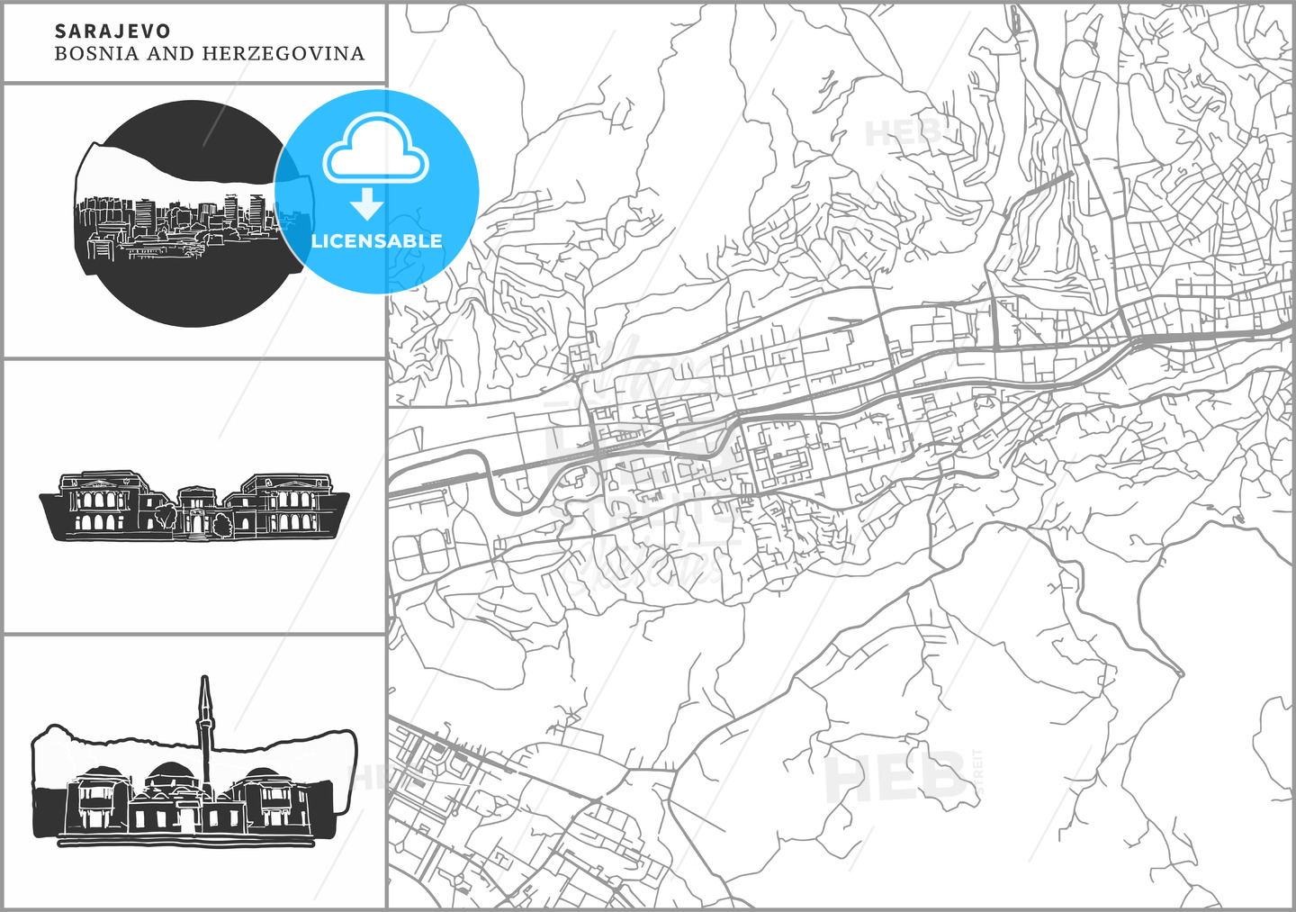 Sarajevo city map with hand-drawn architecture icons - HEBSTREITS