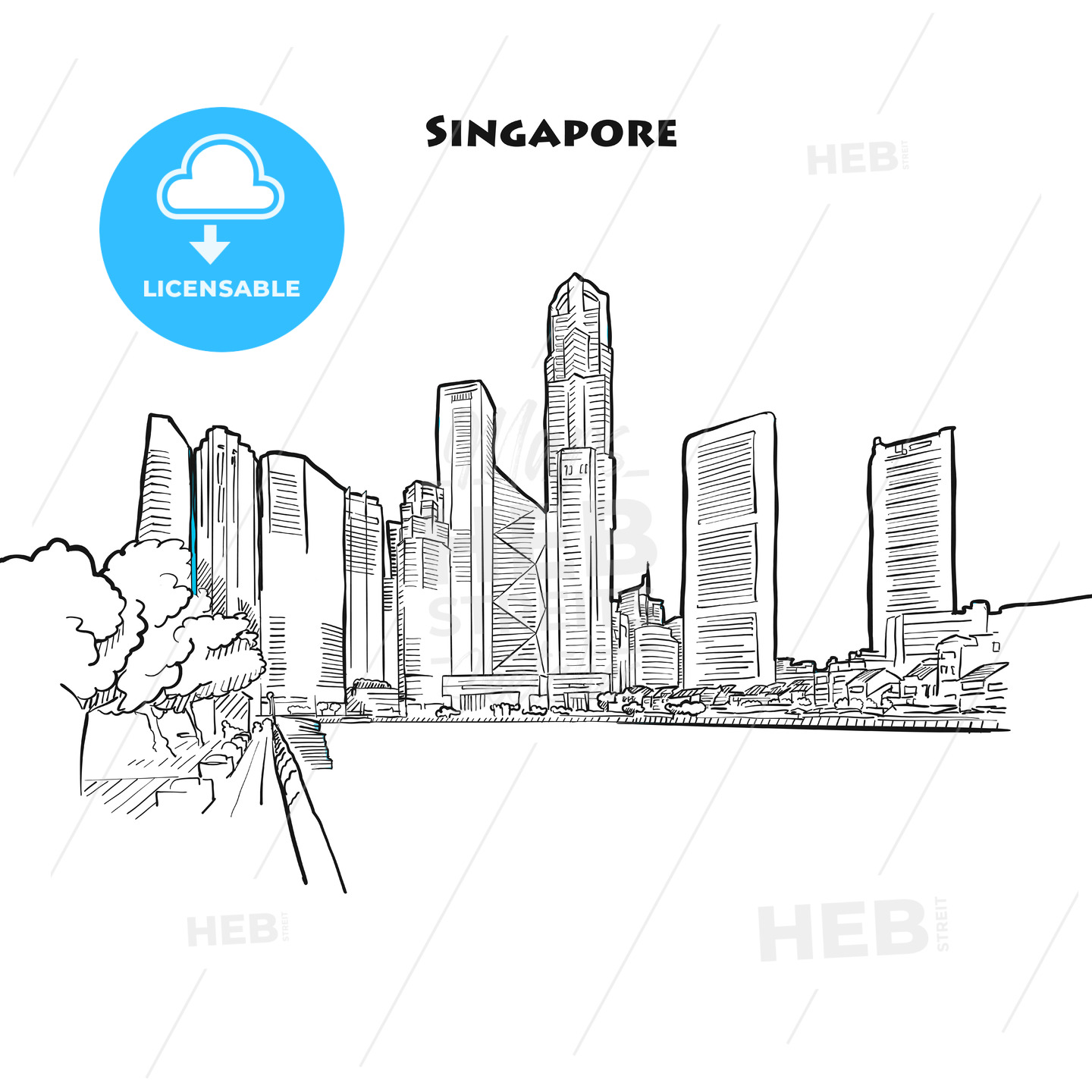 Singapore skyline drawing - HEBSTREITS