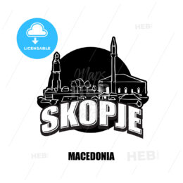 Skopje, Macedonia, black and white logo