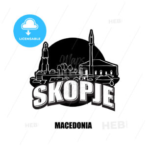 Skopje, Macedonia, black and white logo - HEBSTREITS