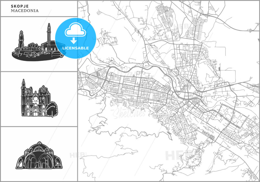 Skopje city map with hand-drawn architecture icons - HEBSTREITS
