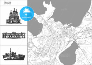 Tallinn city map with hand-drawn architecture icons - HEBSTREITS