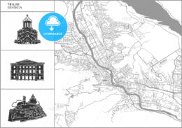 Tbilisi city map with hand-drawn architecture icons