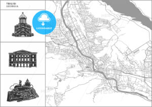 Tbilisi city map with hand-drawn architecture icons - HEBSTREITS