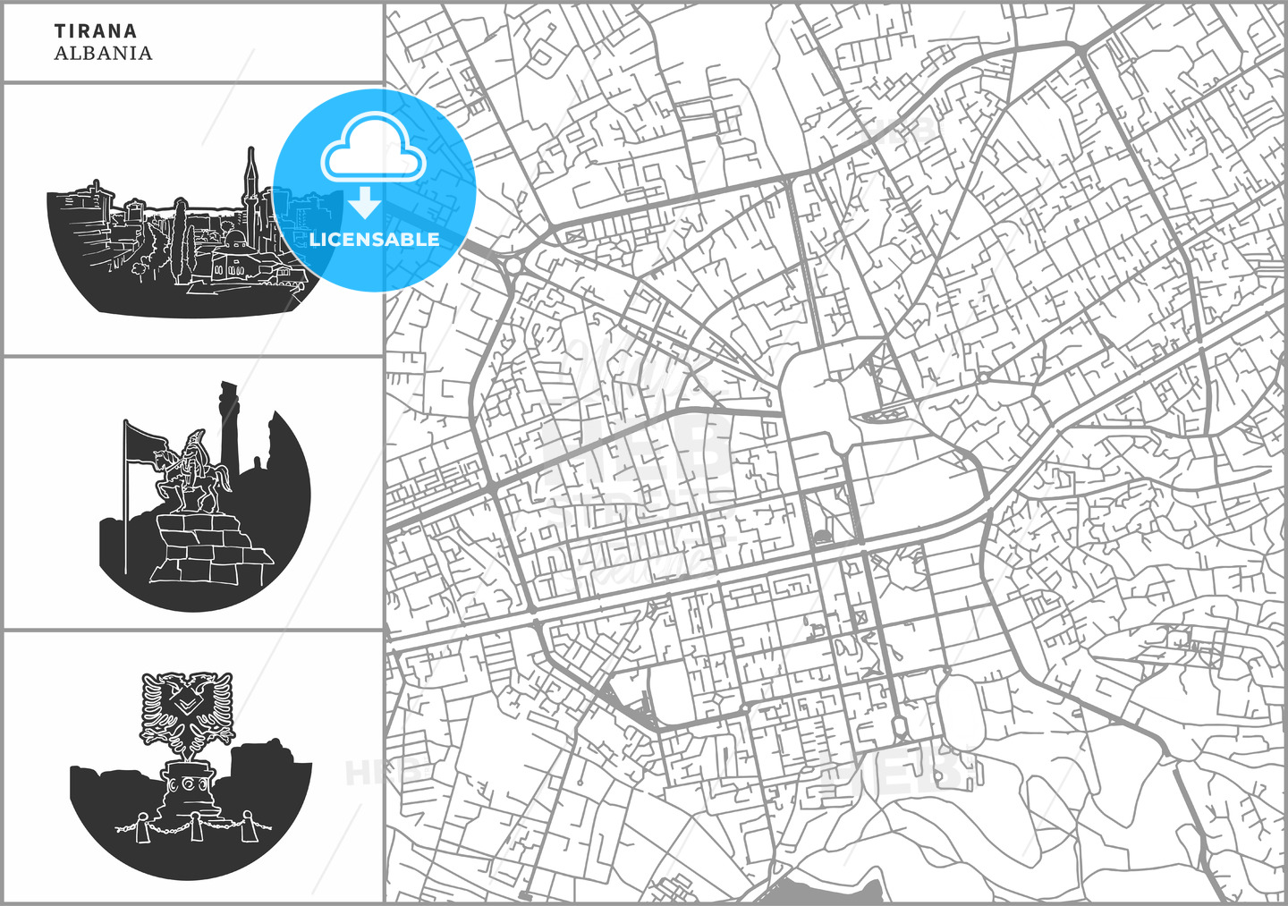 Tirana city map with hand-drawn architecture icons - HEBSTREITS