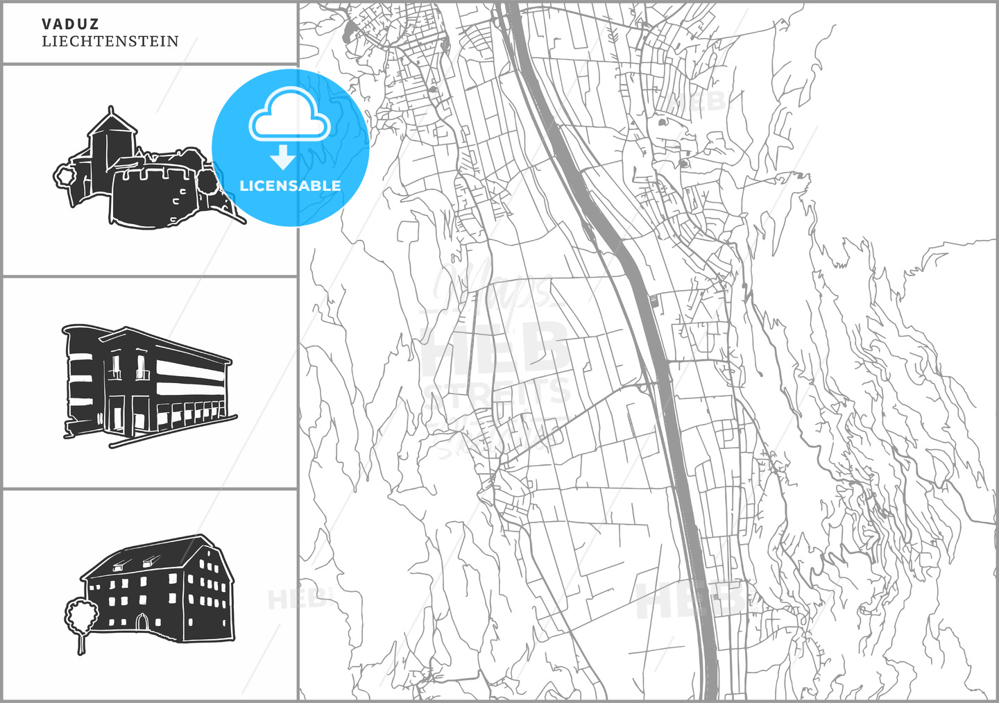 Vaduz city map with hand-drawn architecture icons - HEBSTREITS