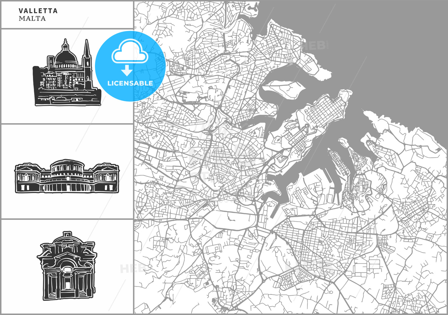 Valletta city map with hand-drawn architecture icons - HEBSTREITS