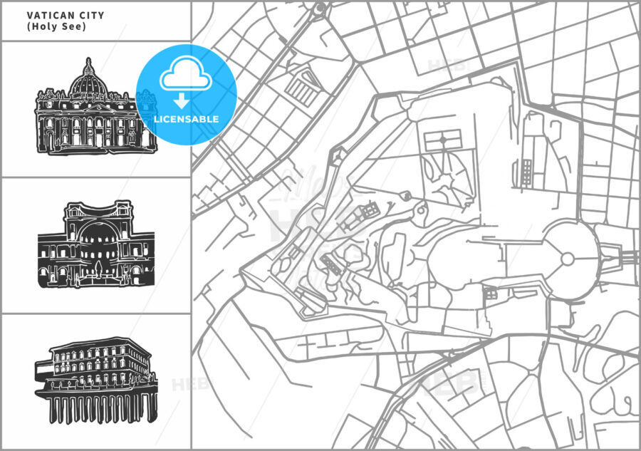 Vatican city map with hand-drawn architecture icons - HEBSTREITS
