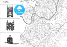 Vilnius city map with hand-drawn architecture icons - HEBSTREITS