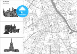 Warsaw city map with hand-drawn architecture icons