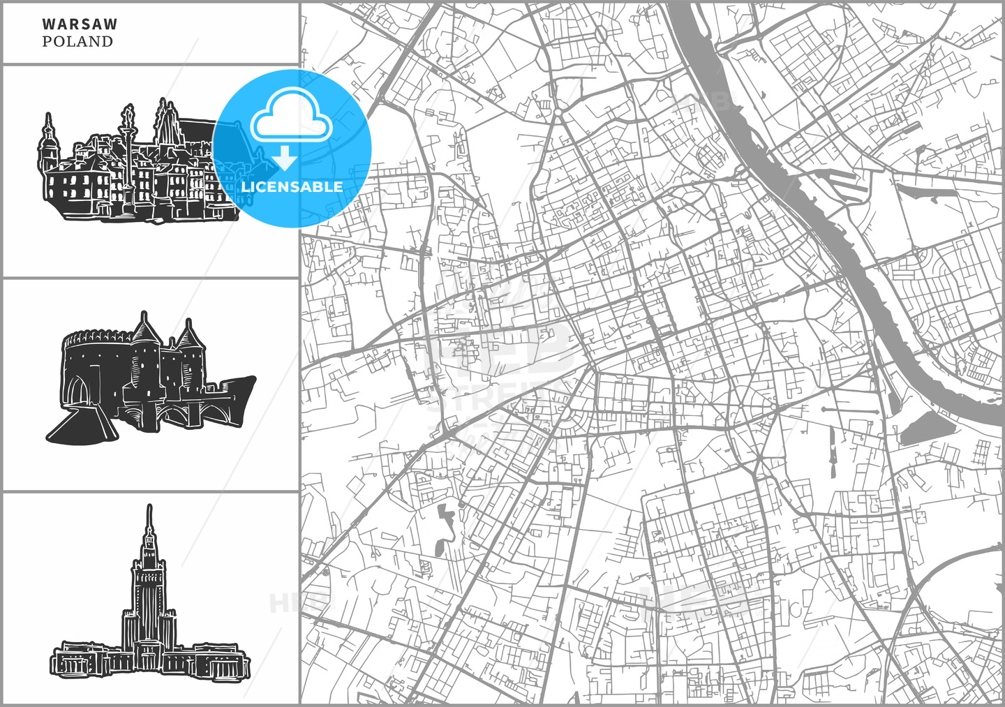 Warsaw city map with hand-drawn architecture icons - HEBSTREITS