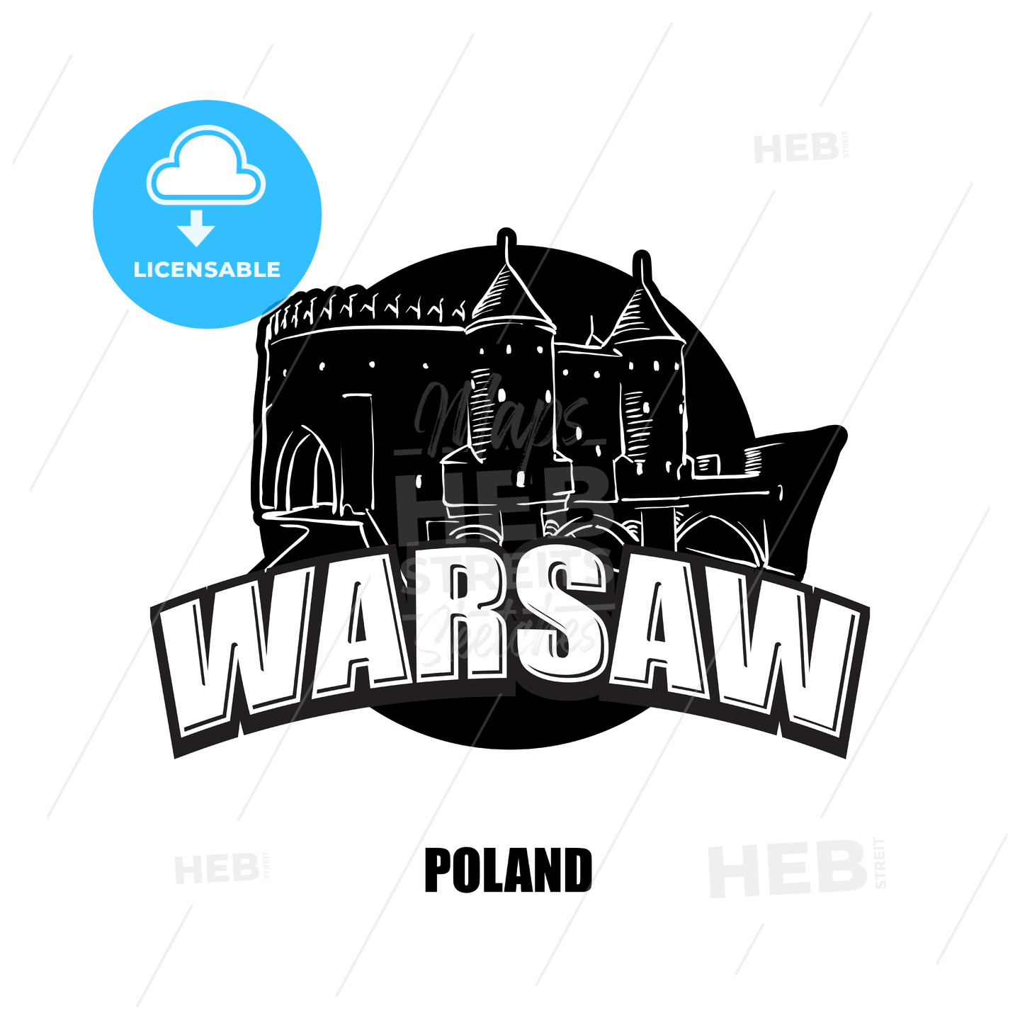 Warsaw, fortress, black and white logo - HEBSTREITS